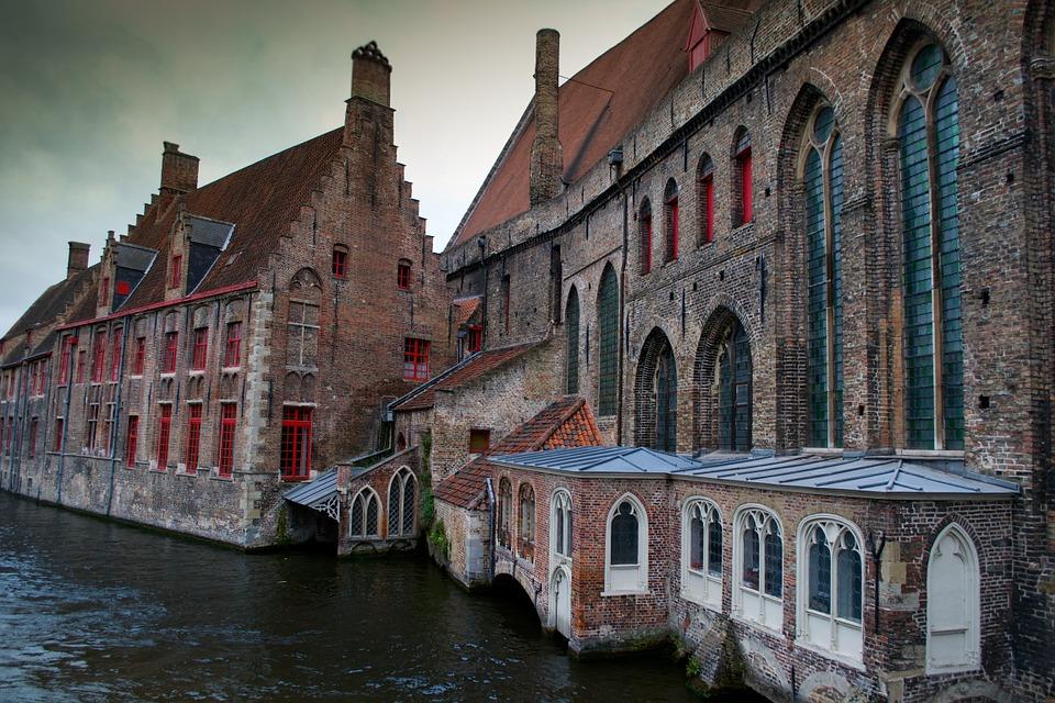 Bruges canal比利时 布鲁日运河 西方古老建筑